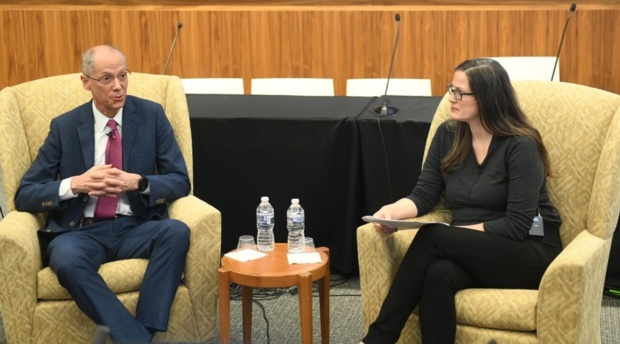 Dr. Tom Farley, health commissioner of Philadelphia, during the conference's keynote discussion with Health Law and Policy Program Director and Professor Lindsay Wiley.
