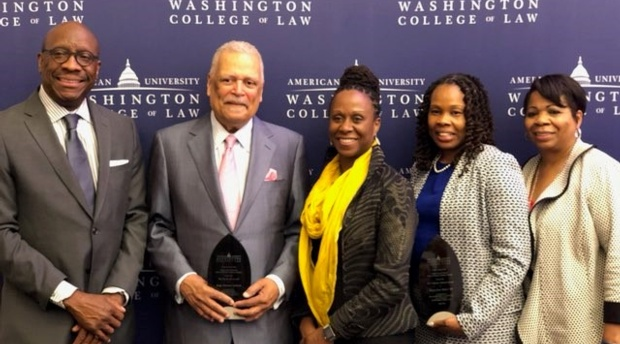 Judge Gerald Bruce Lee '76, Judge Emmet Sullivan, Dean Camille Nelson, Judge Tanya Jones Bosier '00, and Judge Jill Cummins '88 at the Awards Dinner.