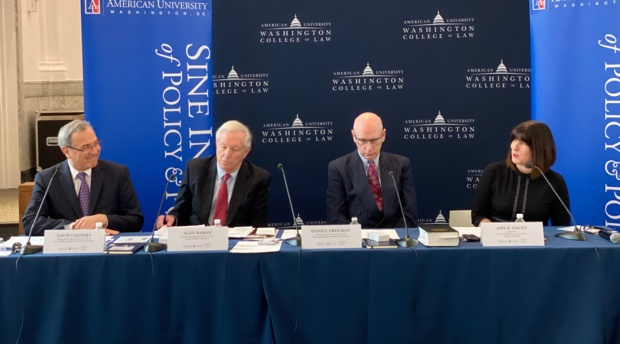 AUWCL Distinguished Adjunct Professor of Law Louis Caldera; ormer Special Impeachment Counsel for the House Judiciary Committee Alan Baron; Research Fellow in Residence at CCPS Daniel Freeman; and Sine Institute Executive Director Amy Dacey.
