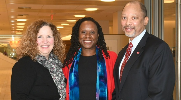 SPA Dean Vicky Wilkins, AUWCL Dean Camille Nelson, and AHLA Executive Vice President and CEO David S. Cade.