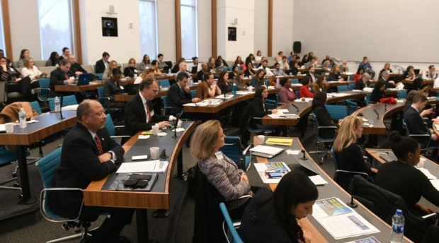 """Attendees at the Health Law and Policy Program's """"The Opioid Crisis: Rethinking Policy and Law."""""""