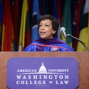 "Attorney General Loretta Lynch encouraging graduates to ""champion what matters."