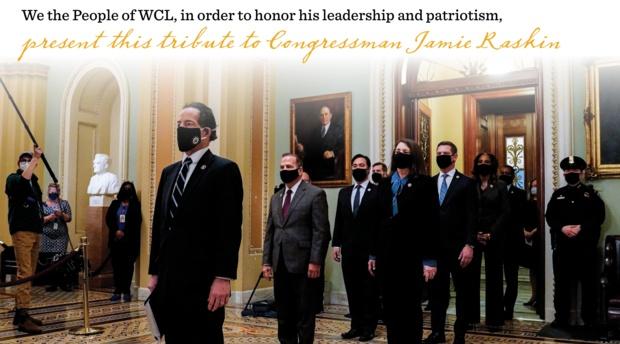 Rep. Jamie Raskin tribute book cover of photo of the Impeachment Team.