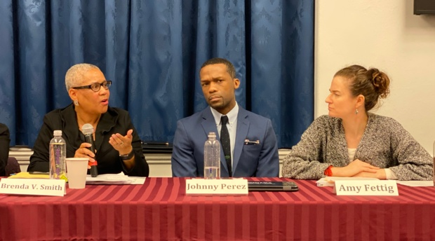 "Professor Brenda Smith, left, speaks at the congressional staff briefing on ""Solitary Confinement: Briefing on H.R. 4488."""