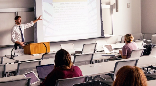 Professor Jonas Anderson teaches in classroom with students.