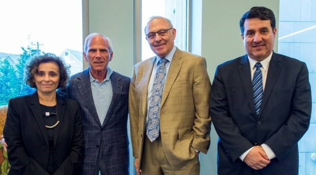 Left to right: Claudia Martin (Professorial Lecturer in-Residence and Academy Co-director), Robert K. Goldman (Professor of law and Academy Co-Chair), Claudio Grossman (Dean Emeritus, Professor of Law, and Academy Co-chair) & Diego Rodríguez-Pinzón (Professorial Lecturer in-Residence and Academy Co-director).