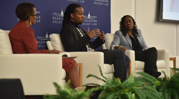 Saturday's keynote conversation, moderated by AUWCL Professor Angela J. Davis, featured President and Director-Counsel of the NAACP Legal Defense and Educational Fund Sherrilyn Ifill and American University Professor and National Book Award Winner Ibram Kendi.