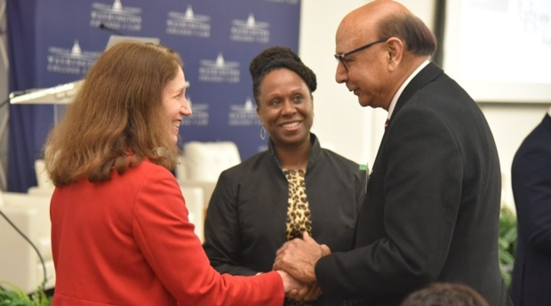 AUWCL Dean Camille Nelson and AU President Sylvia Mathews Burwell greet lawyer and Gold Star Father Khizr Khan.