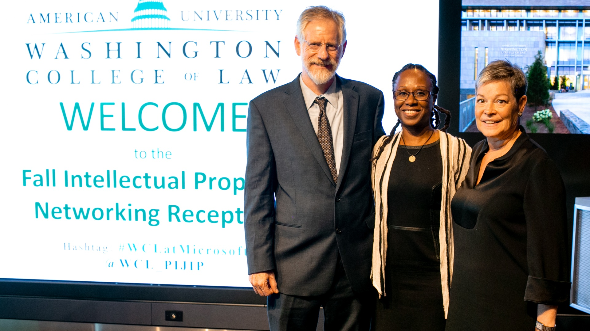 PIJIP Director Michael Carrol, Dean Camille Nelson, and Senior Director of Intellectual Property Policy at Microsoft Susan Mann '86.