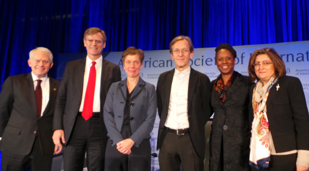 Mark Agrast, Executive Director of ASIL; Sean D. Murphy, President of ASIL; Anne Orford, Distinguished Discussant; Martti Koskenniemi, Grotius Lectureri; AUWCL Dean Camille Nelson; and Professor Padideh Ala'i, Director of International & Comparative Legal Studies.