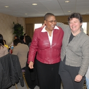 Sherry with Prof. Binny Miller at a Clinic lunch in 2007.