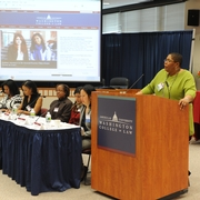 Sherry introducing the panelists at the 'Conference on Women of Color & the Law.' (2012)