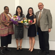 Sherry Weaver with the Hon. Jeannie Hong, Joanne Chong '17, and Dean Grossman at the Women and the Law Leadership Luncheon (2016).