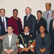 Weaver with Dean Grossman, faculty, and council in 2003.