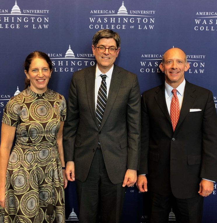 American University President Sylvia M. Burwell, former Secretary of the Treasury Jack Lew, and Professor David Snyder