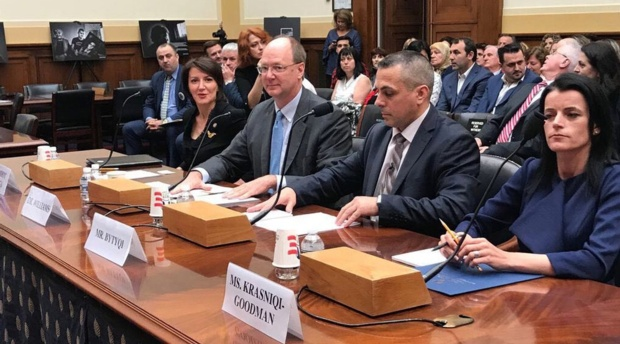 Professor Paul Williams, second from left, testifies before the House Committee on Foreign Affairs.