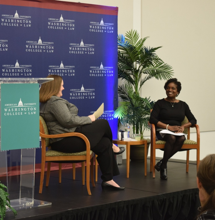 Former FCC Commissioner and Acting Chairwoman Mignon Clyburn, right, speaks at a fireside chat moderated by FCC Associate Bureau Chief in the Media Bureau Holly Saurer '00.