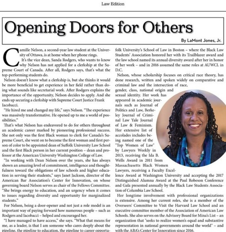 Dean Camille Nelson featured in the Diverse: Issues in Higher Education for her role as