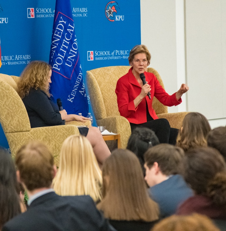 Sen. Elizabeth Warren answers questions submitted by American University students during a Q&A session moderated by School of Public Affairs Dean Vicky Wilkins.