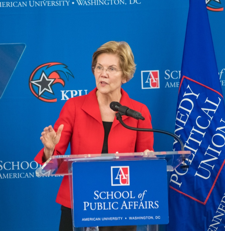 Sen. Elizabeth Warren delivers an address on foreign policy at American University Washington College of Law Nov. 29.